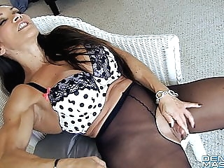 Open Sheer Tights Show Big Clit and Labia fingering top rated milf