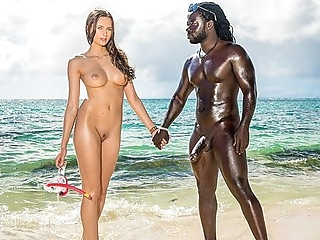 On the shore of the black sea Jock eagerly Fucks slender chick... interracial outdoor straight